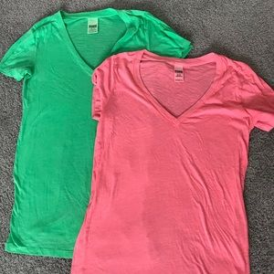 Two VS Pink v-neck tees